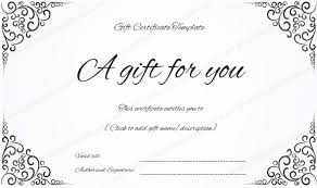 gift card template swirls corner gift certificate