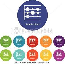 Bubble Chart Icons Set Vector Color