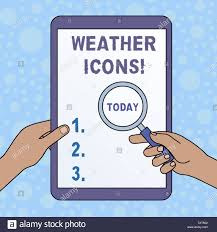 Word Writing Text Weather Icons Business Photo Showcasing