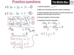 add math simultaneous equation questions solving simultaneous equations by elimination practice questions on solving systems of
