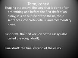 writing terminology essay a piece of writing that gives a  6 term