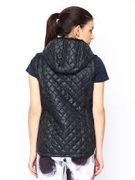 reebok vest. buy reebok classic women black hooded sleeveless padded vest jacket - jackets for   myntra