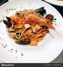 Close Tasty Pasta Seafood Red Sauce ...