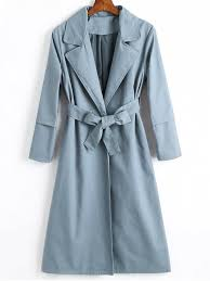 unique longline skirted belted trench coat stone blue s