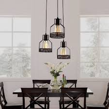 pendant lighting for dining table. Rustic Black Metal Cage Dining Room Pendant Light With 3 Lights - Unitarylighting Lighting For Table