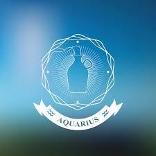 Aquarius Zodiac Znamení Horoskop Tetování Vintage Odznak Premium