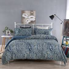 sinolink home 100 cotton premium quality printed duvet cover set paisley dark blue 2 piece set including 1 duvet cover 1 pillow sham twin size 1 unit