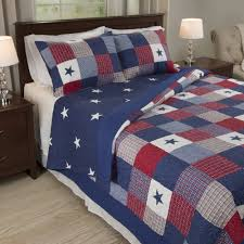 home ine quilt set modern blue red star twin new