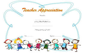 Certificate Of Appreciate Teacher Appreciation Certificate Template 6 Wording Literals