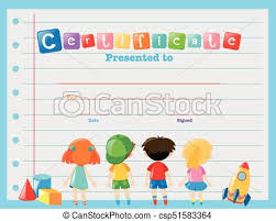 Children Certificate Template Certificate Template With Children Illustration