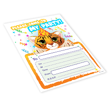 20x Childrens Kids Birthday Party Invitations Invites Pack Blank Tiger