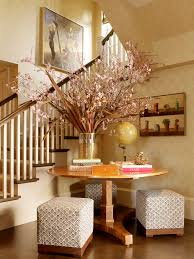 corner foyer table. Chic Foyer Tables In Entry Contemporary With Silk Flower Arrangement Ideas Next To Table Alongside Wooden Staircase And Corner L