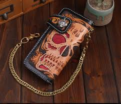 hand tooled wallets skull tattoo leather