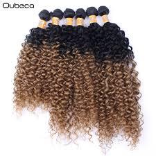 Oubeca 6 Stks Pak Ombre Kinky Krullend Haar Weven Zwart Om Bruin