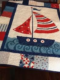 Nautical Quilt | Patchwork, Craft and Boy quilts & Nautical Boat Quilt, Sailing Ship Baby Quilt in Blue and Red, Nautical and  Nice Fabric, for Boy or Girl, Patchwork Handmade Adamdwight.com