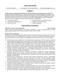 Quality Assurance Manager Anjali Malhotra Resume