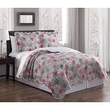 3 Piece Snowflake Red/Gray/White Quilt Set - Walmart.com & 3 Piece Snowflake Red/Gray/White Quilt Set Adamdwight.com