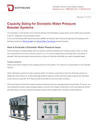 Goulds Well Pump Sizing Chart Capacity Sizing For Domestic Water Pressure Booster Systems