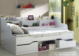 B Single White Wooden Bed Frame