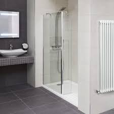 aqualine 8mm 1600 x 800 walk in recess enclosure with slimline shower tray