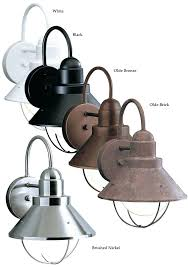 brushed nickel outdoor lights seaside inch tall wall mounted nautical sconce home depot brushed nickel outdoor lights