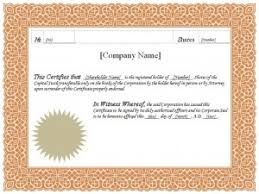 Template For Stock Certificate Stock Certificate Stock Certificate Template