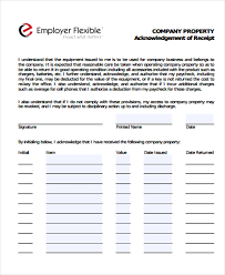 company property acknowledgement form 7 company receipt templates free sample example format download