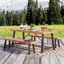 Troy  Piece Wood Picnic Table  Reviews Birch Lane - Landscape lane outdoor furniture