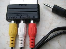 tv jack. the rca plugs on other end of cable are connected to a scart adapter, which is then philips analogue tv. tv jack c