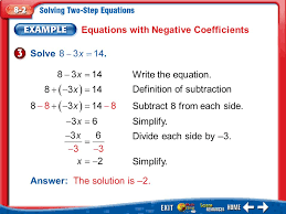 9 equations with negative coefficients