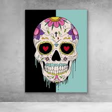 sugar skull pop art graffiti wall art