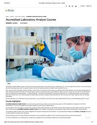 Lab Analyst Accredited Laboratory Analyst Course Istudy Personal