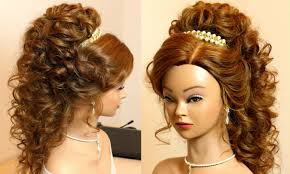 Curly Bridal Hairstyle For Long Hair Tutorial Youtube