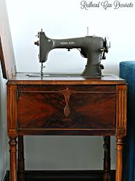 check out this vine sewing machine table makeover without refinishing painting she used 3