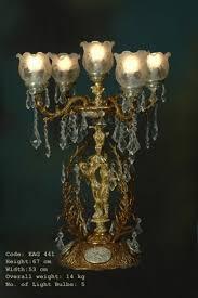 Tischleuchter Tischleuchte Messing Barock Antik Glas Ageag0441