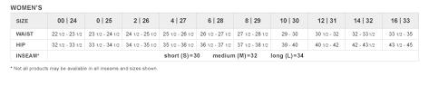 Levi S Women S Size Chart