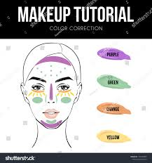 Makeup Tutorial How Use Color Correcting Stock Vector