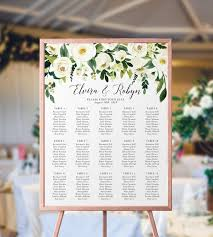 Personalized Seating Chart White Floral Wedding Seating Chart Custom Wedding Seating