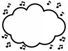 音符の白黒モコモコフレーム飾り枠イラスト 無料イラスト かわいい