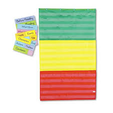 Carson Dellosa Publishing Cd5642 Adjustable Tri Section Pocket Chart With 18 Color Cards Guide 36 X 60