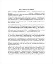 Mutual Confidentiality Agreement Fascinating 44 Mutual Confidentiality Agreement Templates DOC PDF Free