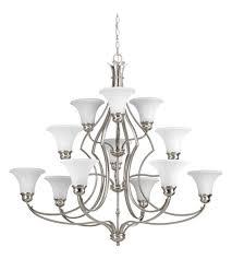 progress p4654 09 applause 12 light 42 inch brushed nickel chandelier ceiling light