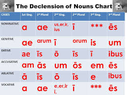 The Declension Of Nouns Chart Cases1st Sing 1 St Plural2 Nd