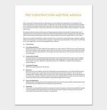 Work Meeting Agenda Construction Meeting Agenda Template For Word Pdf Format