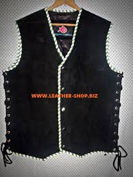 suede leather vest with braid motorcyle club style mlvb840
