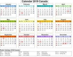 Canada 2019 Calendar With Holiday Colorful 2019 Calendar