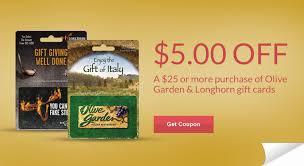 olive garden or longhorn steakhouse gift cards