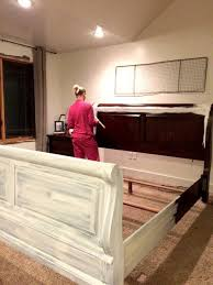 Distressed furniture ideas Images Need To Do This To Our Bed Frame When We Go Back To Queen Painting And Distressing Furniture Pinterest Painting And Distressing Furniture 101 Bringing Farmhouse Style