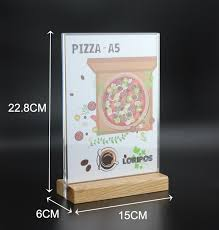 Wooden Menu Display Stands Inspiration A32 Wooden Bottom Acrylic Frame Label Holder Stand Poster Banner