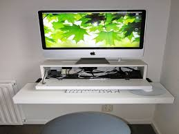 furniture rectangle white wooden floating imac computer desk on white wall adorable look of